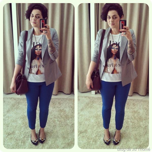 look calça azul t-shirt miss melon VOGUE blazer cinza