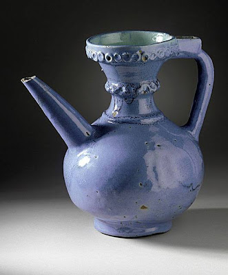 Ewer Iran Ewer, 17th century Ceramic; Vessel, Fritware, glazed, 9 5/8 x 9 1/2 x 6 1/2 in. (24.45 x 24.13 x 16.51 cm) The Madina Collection of Islamic Art, gift of Camilla Chandler Frost (M.2002.1.23) Art of the Middle East: Islamic Department.