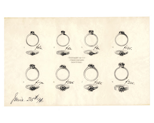 This detailed sketch of various diamond engagement rings (c. 1896) was sent to Mr. William E of Maryland, who had requested a selection of rings that he might consider for his engagement.