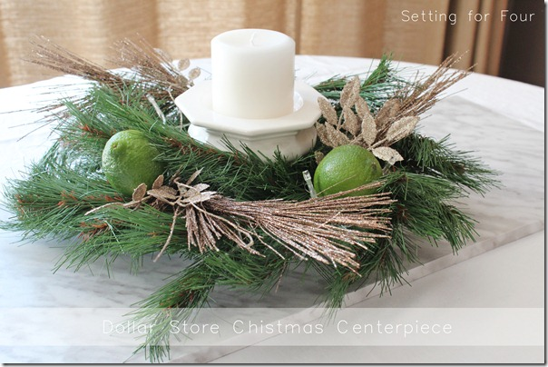 DIY Dollar Store Christmas Centerpiece from Setting for Four #Christmas #Dollar Store #Centerpiece #DIY #Tutorial #Kitchen #Table #Candle