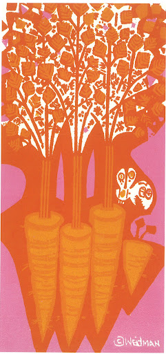 The carrots look larger than life, almost like trees. Carrots on Color 6x12 Silkscreen print circa 1972.
