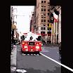 The camion de pompier.