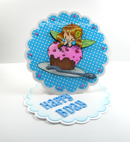 Milk N Coffee - Fiona and her cupcake -circle easel card - Ruthie Lopez