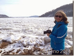 Sue Reno by the frozen Susquehanna River, February 2014