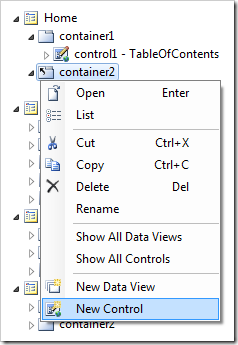 New Control option on the container context menu.