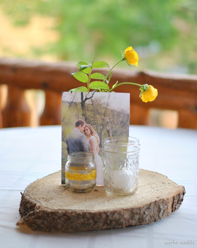 Simple, country centerpieces for wedding reception.