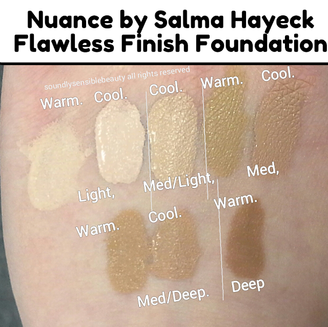 Nuance by Salma Hayeck; Flawless Finish Liquid Foundation. Review & Swatches of Shades. (Warm, Cool ,Light, Medium, Deep)