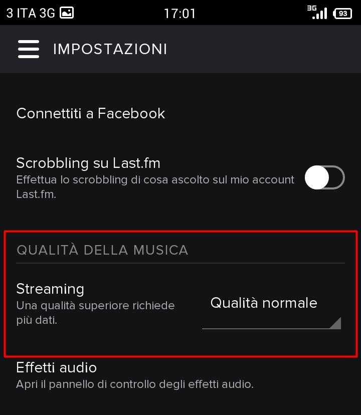 Spotify su Android - Qualità Musica