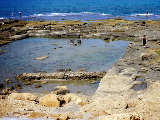 Remains of Palace Swimming Pool--Fresh Water and further out-- Salt Water Remains