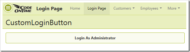 A single button is present on the 'Login Page'.