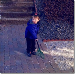 01 27 13 - Raking at Nana and Papa's with your ears on (1)