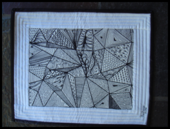 Zentangle with fabric & thread