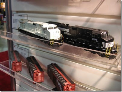 IMG_5339 HO-Scale Norfolk Southern C44-9Ws, one in primer only, by Athearn at the WGH Show in Portland, OR on February 17, 2007
