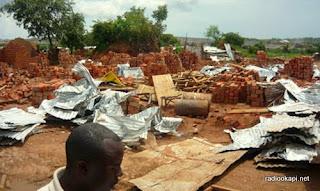 Maisons détruites au quartier CRAA à Lubumbashi.