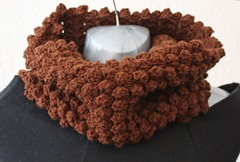401 - Chocolate Popcorn Stitch Cowl (1)