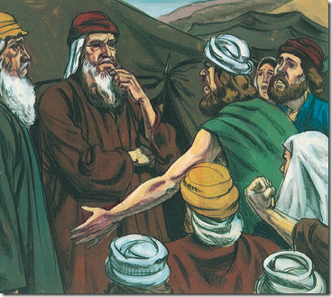 The people of Israel complaining to Moses