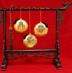 display Chinese ornaments year round on calligraphy brush stand