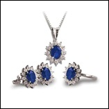 sapphire & diamond set white gold
