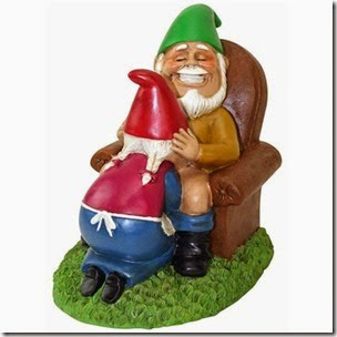 happy couple lawn gnomes