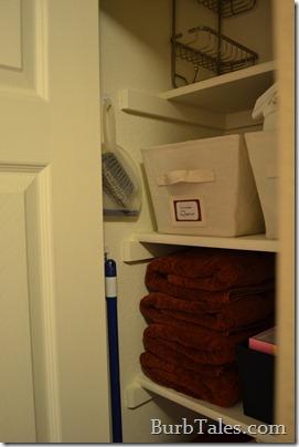 Organized closet brooms