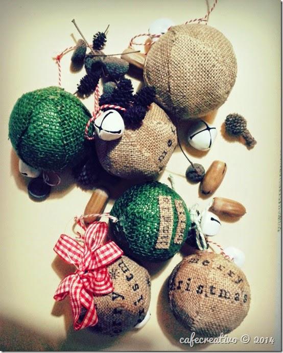 palline natalizie juta timbrate