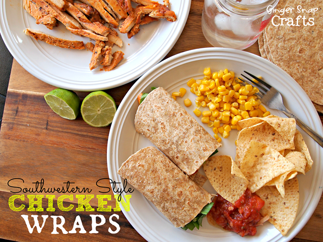 Southwestern Style Chicken Wraps (recipe from gingersnapcrafts.com)