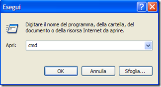 prompt dei comandi Windows - Esegui