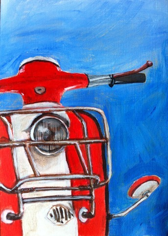 Acrylics Vespa Painting by Evelyn