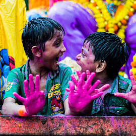The joyful scream..! by Krrutiika Joshi - People Street & Candids ( excitement, explore, faces, colorful, joy, street, children, happiness, candid, travel, people, portrait, smile )