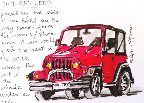 Red Jeep drawing