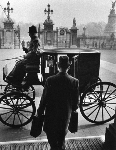 The Queen's Messenger leaving Buckingham Palace with dispatches for the Foreign Office, Carl Mydans, 1954