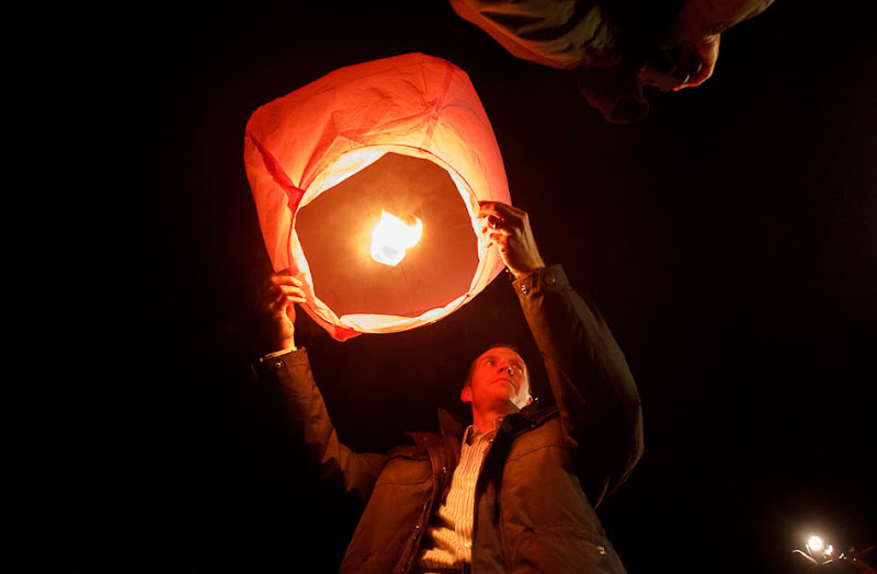 Robbie Parker with lantern