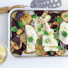 Pollack, Beetroot & Potato Traybake With Lemony Crème Fraîche