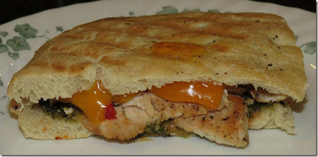 Grilled Chicken Pesto Focaccia Sandwich 2-1-13