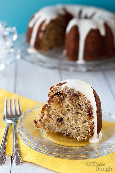 Banana Chocolate Chip Bundt Cake with Rum Glaze | Dulce Dough Recipes