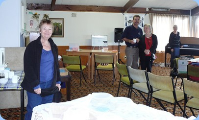 Setting-up for Coffee Day at the Club. Left to Right: Diane Lyons; Peter Littlejohn; Sylvia Riddell; and Delyse Whorwood. Photo courtesy of Dennis Lyons.