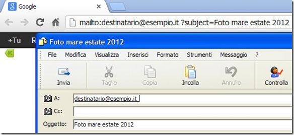 Inviare email con campo oggetto compilato dal browser internet