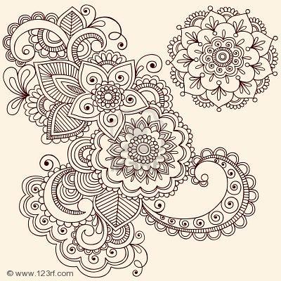 Henna tattoo paisley doodle illustration jpg mandala mehndi og andre