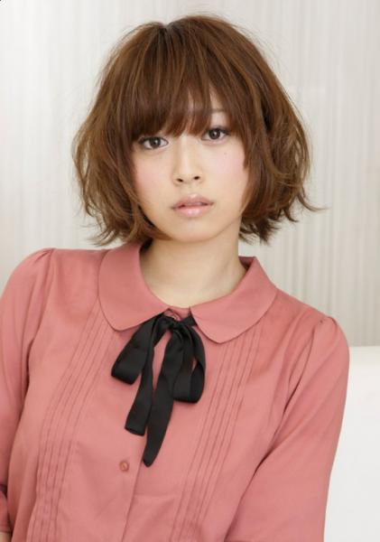 Japanese girl with short center parted bob haircut