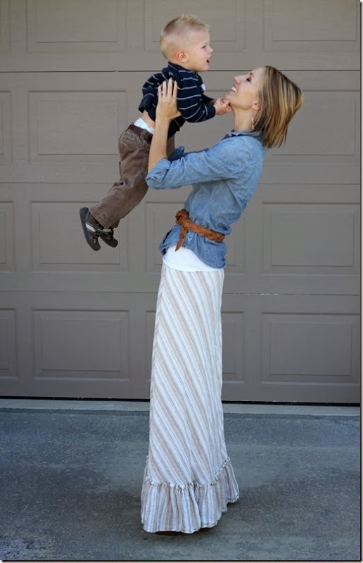 Chambray + Maxi Skirt + Belt