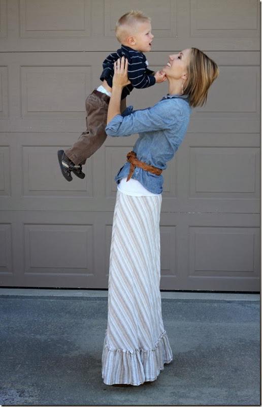 Chambray + Maxi Skirt + Belt