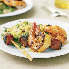 Spanish Shrimp and Chorizo Skewers with Especial Couscous