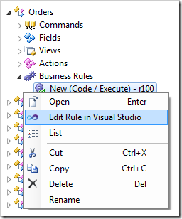 Edit Rule in Visual Studio context menu option available on the code business rule node in the Project Explorer.
