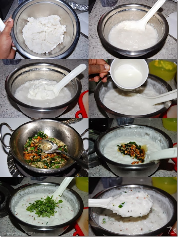 Thayir sadham or curd rice process