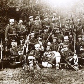 ca. 1915 --- These Armenian soldiers from Caucasia have joined forces with Russia in the fight against Turkey. In April 1915, Armenia rose against Turkey, who had been massacring Armenians who were suspected of aiding Russia. --- Image by © Underwood & Underwood/Corbis