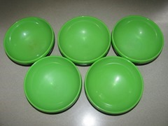 black and green Therm-O-Ware Bowls by Reinecke, Evanston, IL, U.S.A.