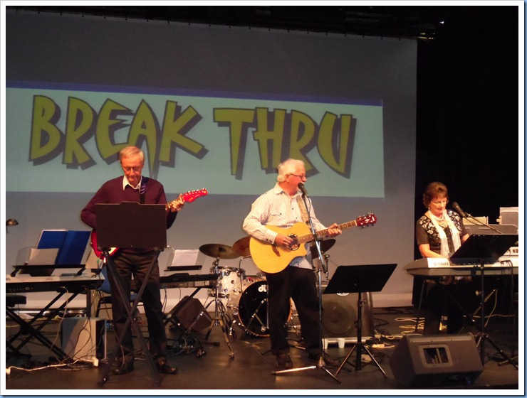 Break Thru, our South Island main act, entertaining the audience for the second half of the programme. Brian Gunson (on the left) joined Gavin and Phyllis Prentice (Break Thru) for their performance which was generally in the genre of Country Rock.
