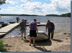 7218 Restoule Provincial Park - Peter, Janette and Bill launching Peter's inflatable rubber boat