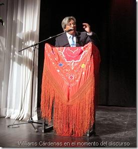 Williams Cárdenas en el momento del discurso