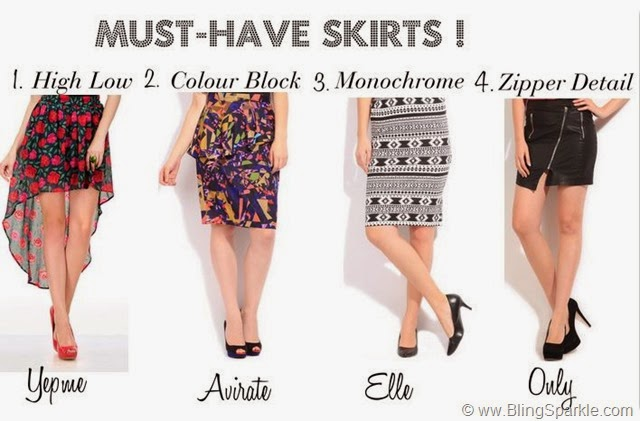Must have printed and high low mini skirts